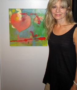 Two-bit Guru - Meditation and Painting - Guest post by artist Alayna Rose - Photo of Alayna with one of her recent paintings