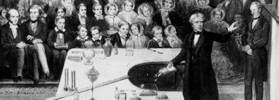 Two-bit Guru | Edge of Science | Detail of a lithograph of Michael Faraday delivering a Christmas lecture at the Royal Institution | Image courtesy of Wikipedia.